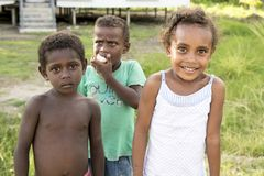 Cute kids, different typs of skin, Solomon Islands Stock Images