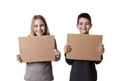 Children with space for advertisement Stock Photography