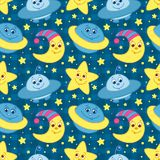 Children space pattern Stock Image