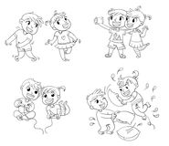 Children spend leisure time fun. Coloring book. Children spend leisure time fun. Children to make selfie together with mobile device. Boy and girl playing video Stock Images