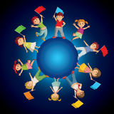 Children on the sphere with colorful flags Stock Photography