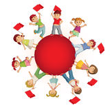 Children on the sphere with flags Royalty Free Stock Photo