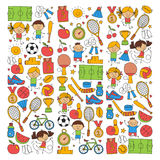 Children sport Fitness Football Volleyball Tennis Basketball Bicycle Running Award Baseball Kids sport for boys and. Girls Vector patterns Royalty Free Illustration