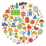 Children sport Fitness Football Volleyball Tennis Basketball Bicycle Running Award Baseball Kids sport for boys and Royalty Free Stock Photo