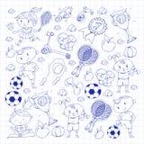Children sport. Kids drawing. Kindergarten, school, college, preschool. Soccer, football, tennis, running, boxing, rugby Stock Photography