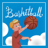 Children sport with parents, basketball. Vector calligraphy. Postcard with sport with family and calligraphy word Basketball . Design have child with ball Royalty Free Stock Photo