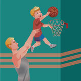 Children sport with parents - basketball. Vector illustration. Vector illustration with sport basketball action with kid and dad Royalty Free Stock Photos