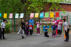 Children sporting event in nursery school. MOSCOW - MAY 15, 2015: children sporting event in nursery school Royalty Free Stock Image