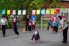 Children sporting event in nursery school. MOSCOW - MAY 15, 2015: children sporting event in nursery school Royalty Free Stock Images