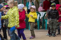 Children sporting event in nursery school. MOSCOW - MAY 15, 2015: children sporting event in nursery school Stock Photography