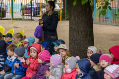 Children sporting event in nursery school. MOSCOW - MAY 15, 2015: children sporting event in nursery school Stock Photo