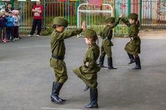 Children sporting event in nursery school. MOSCOW - MAY 15, 2015: children sporting event in nursery school Stock Image