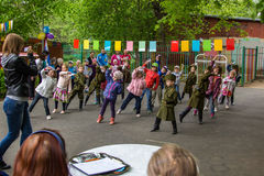 Children sporting event in nursery school. MOSCOW - MAY 15, 2015: children sporting event in nursery school Royalty Free Stock Photo