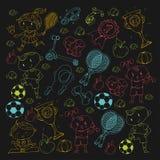 Children sport. Kids drawing. Kindergarten, school, college, preschool. Soccer, football, tennis, running, boxing, rugby Royalty Free Stock Image