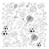 Children sport. Kids drawing. Kindergarten, school, college, preschool. Soccer, football, tennis, running, boxing, rugby Royalty Free Stock Photos
