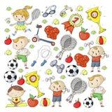 Children sport. Kids drawing. Kindergarten, school, college, preschool. Soccer, football, tennis, running, boxing, rugby Stock Photos