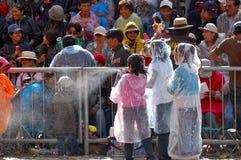 Children spraying foam Oruro Carnival 2/09 Stock Photo