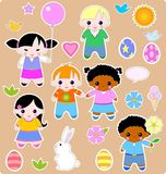 Children spring set. Beautiful set of children and toys. All images are separated Royalty Free Stock Photography