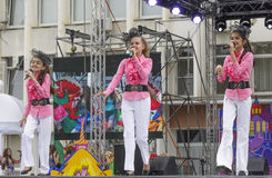 Children on stage singing a song. Pyatigorsk, Russia - June 1, 2014: Children's Day. Children on stage singing a song (free concert Royalty Free Stock Photos