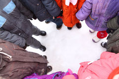 Children stand around,  top view Royalty Free Stock Photo