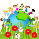 Children stand circumplanetary earth on a white background Royalty Free Stock Photo