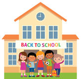 Children stand in an educational institution building  Stock Photo
