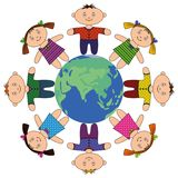Children standing around Earth Royalty Free Stock Images