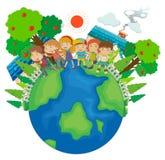 Children standing around the world Royalty Free Stock Photos