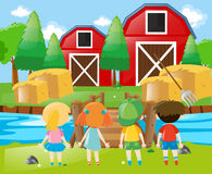 Children standing in the farm Royalty Free Stock Photography
