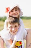 The children are standing outdoor royalty free stock photography