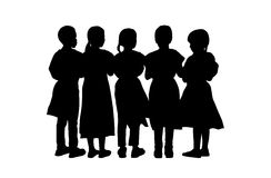 Children standing silhouettes set 9 Royalty Free Stock Image