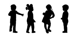 Children standing silhouettes set 2 Stock Images