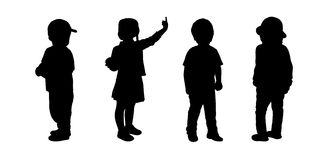 Children standing silhouettes set 1 Royalty Free Stock Photo