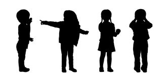 Children standing silhouettes set 3 Royalty Free Stock Image