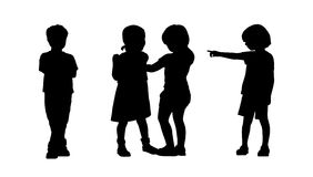 Children standing silhouettes set 6 Stock Photo