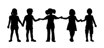 Children standing silhouettes set 8 Royalty Free Stock Photos