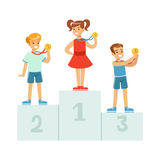 Children standing on the winner podium with medals,happy athletes kids on pedestal cartoon vector Illustration Royalty Free Stock Photography