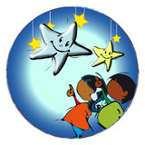 Circle Mandala with Stars Cartoon for Baby African Children-Diversity Royalty Free Stock Images