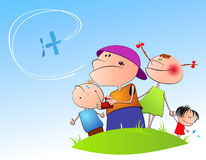 Children starting up the plane Stock Photography