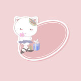 Children sticker kitty and gifts. Cute kitty with flower and gifts on a pink background Stock Image