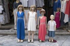 Children store dummies on the street. Dressed children dummies on the street in Athens, Greece stock image