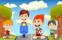 Children at the street riding a scooter, brings the ball and backpack, waving their hand cartoon Royalty Free Stock Photography