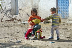 Poor children in a village from Turkey royalty free stock images