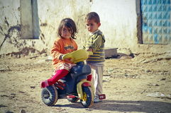 Poor children in a village from Turkey stock photography