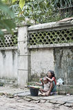 Children on street of yangon myanmar Stock Photo