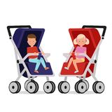 Children in the stroller. Vector illustration. Painted in shape royalty free illustration