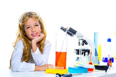 Children student girl in kid chemical laboratory Stock Photos