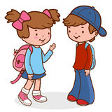 Children students with backpacks Royalty Free Stock Photos