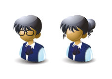 Children. Students boy and girl icon, anime style stock illustration
