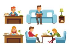 Children students in library or bookshop reading books royalty free illustration